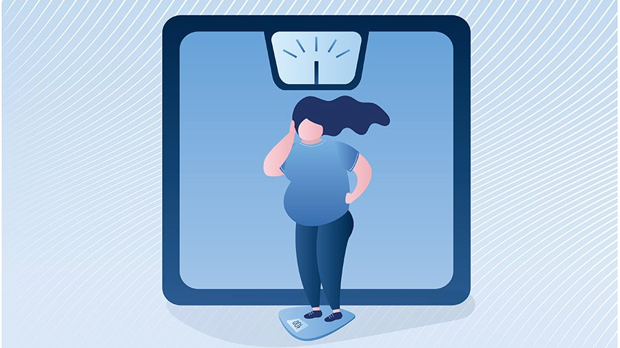 Illustration of overweight woman standing on a scale