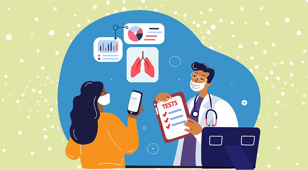 Illustration of doctor informing lung cancer patient about her tumor's molecular profile