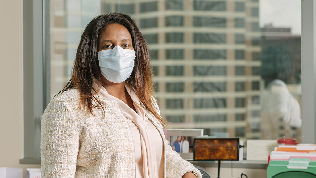 MD Anderson Chief Medical Officer Welela Tereffe, M.D., wears a mask